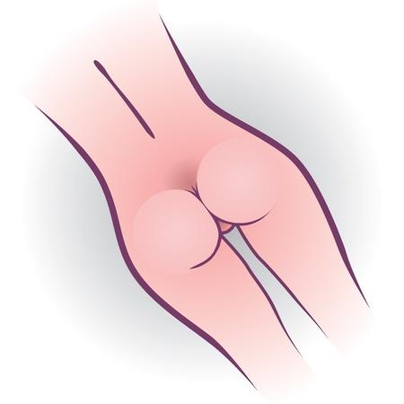 nude woman standing: beauty  woman back - illustration Illustration