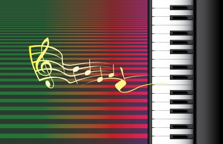 piano roll: piano roll and music notes - illustration