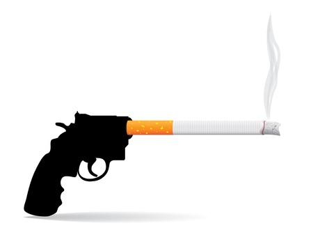 preservative: gun and cigarette - concept illustration