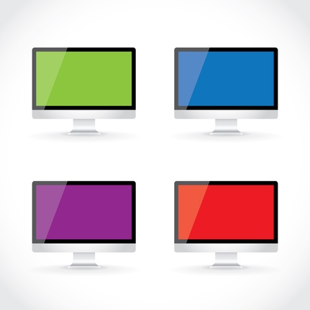 set of LCD computer display isolated, illustration Stock Vector - 16857761