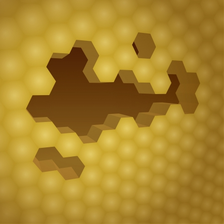 apiculture: 3d yellow honeycomb with honey, background illustration