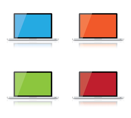 Set of laptops isolated on white background, clipping path included Stock Vector - 16857708