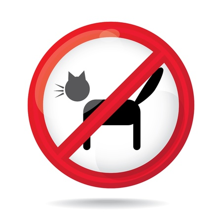 No cats sign, do not allowed, illustration Vector