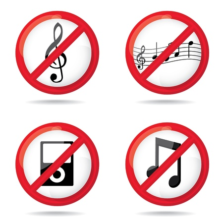 noisily: Set of  not allowed music  symbols, illustration