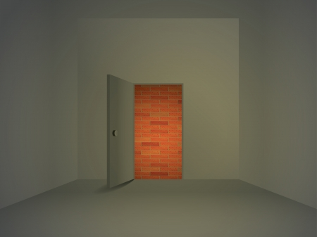 Room with open door, behind door is wall, illustration Vector