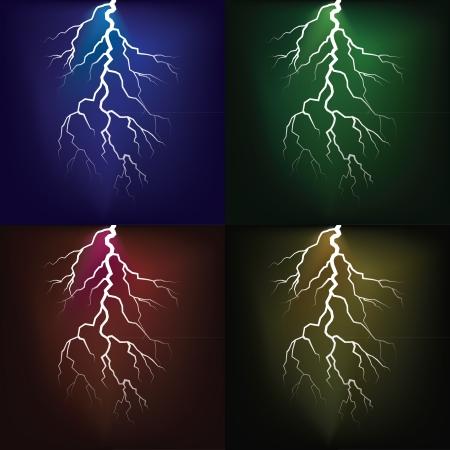 red sky: Lighting flash on the dark sky - illustration
