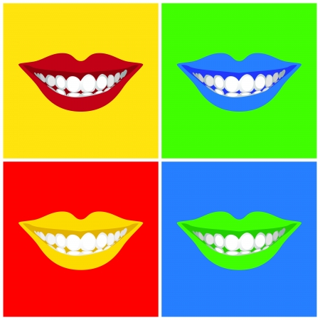 warhol: beautiful woman´s  mouth smiling - illustration  Illustration
