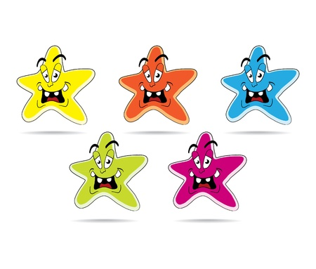 star clipart: Set of cartoon star - isolated illustration