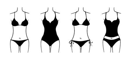 the top model: set of seasonal ladies swimsuits, isolated illustration