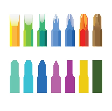 screwing: Color screw-drivers bit in line -isolated illustration