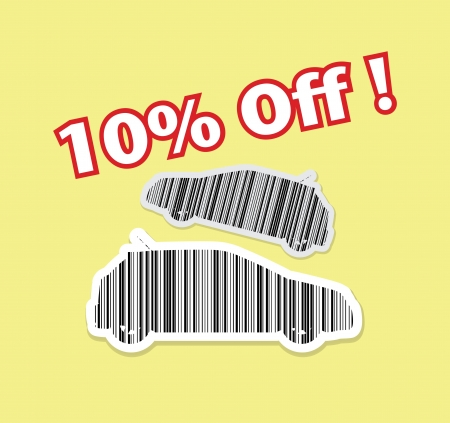 save on cars, car as barcodes, illustration Vector