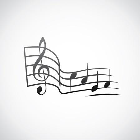 tabique: g clave y notas en un tacto logo - ilustraci�n