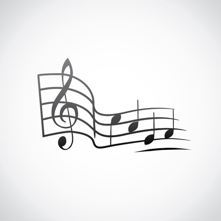 g key and notes in one tact logo - illustration Vector