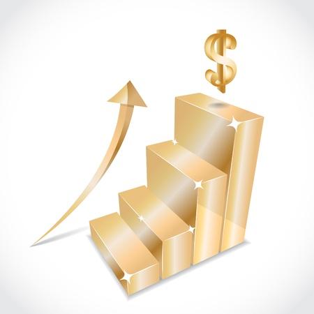 dolar: Negocios gráfico con la flecha de oro equidad en aumento, ilustración Vectores
