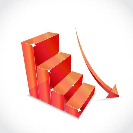 dolar: Negocio gráfico con la flecha roja que cae la equidad, la ilustración Vectores
