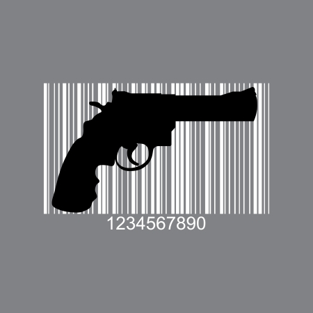 Gun as barcode symbol - illustration Stock Vector - 17181486