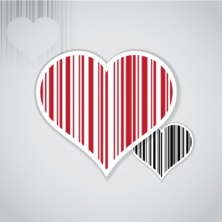 bar code: Barcode image with heart symbol - illustration