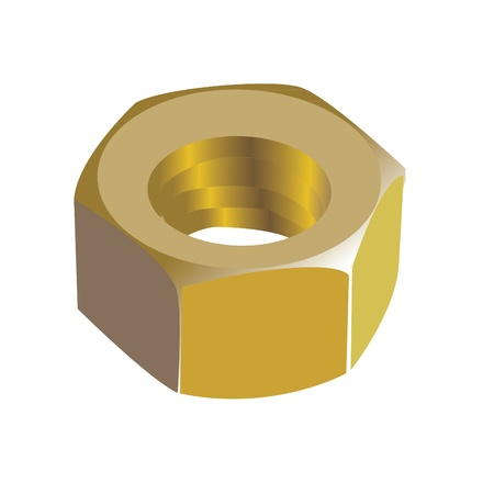 nut bolt: shiny golden metal nut - realistic illustration