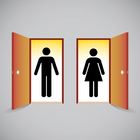 open  women: Open doors and man and woman figure symbols behind the door