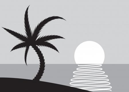 Palm beach scene with rising sun - illustration Stock Vector - 17181491