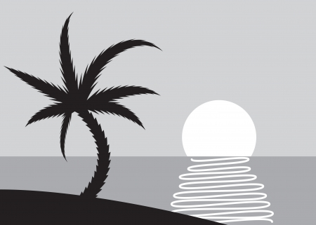 tropical beach panoramic: Palm beach scene with rising sun - illustration