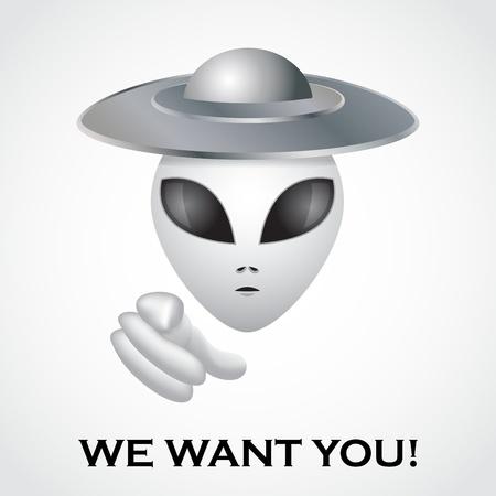 extraterrestres: Queremos que usted, cartel de reclutamiento extranjero - ilustraci�n