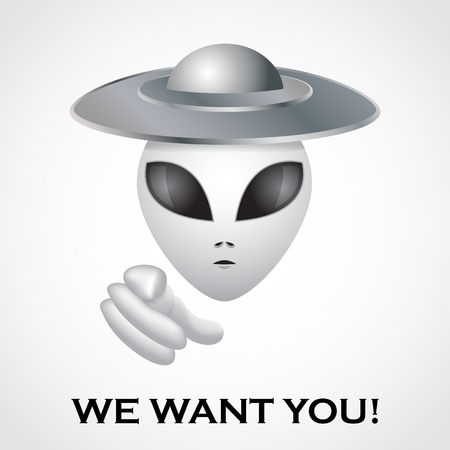 We want you, alien recruitment poster - illustration Vector