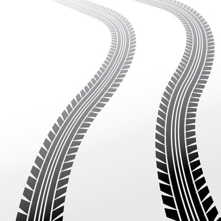 wheels track on light background, illustration Stock Vector - 17181527