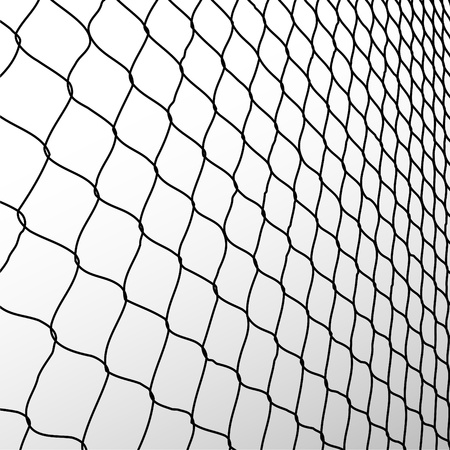 barbed wire fence: wired fence in perspective - illustartion