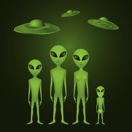 black family smiling: Whole alien family - illustration