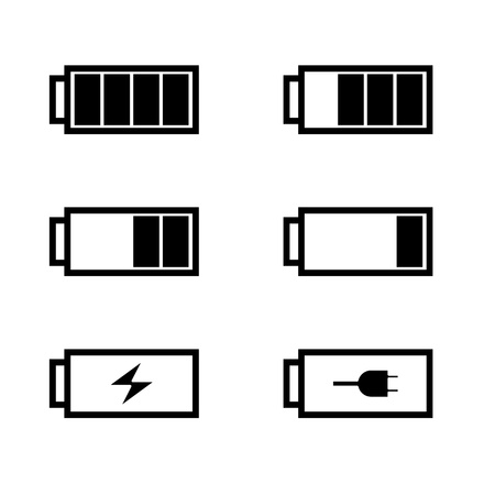 bateria: conjunto de bater�as con diferentes niveles de carga, ilustraci�n Vectores
