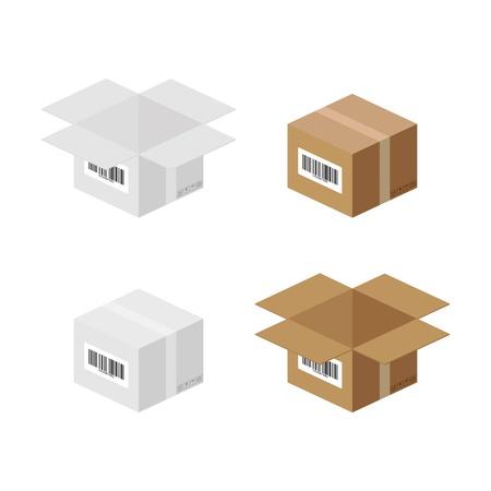 carton box: Set of carton paper box - illustration