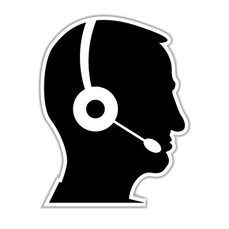 headset symbol: man as a call centre staff - illustration Illustration