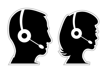support center: man and woman as a call centre staff - illustration