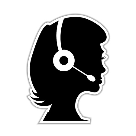 call center female: woman as a call centre staff - illustration