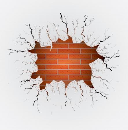gaten: groot gat in pleister op de muur