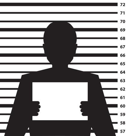 De politie strafblad met man silhouet - illustratie Vector Illustratie