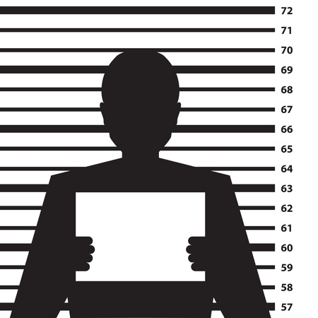 criminals: Police criminal record with man silhouette - illustration
