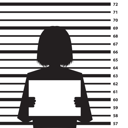 Police criminal record background with woman silhouette- illustration Ilustracja