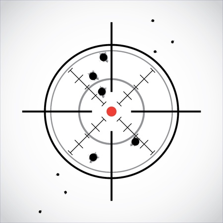 crosshair with red dot and fired shots Vector