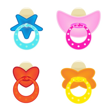 set of colorful dummy  or pacifier  on white  Vector