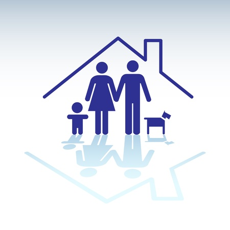 Family in a house, symbol - illutration Stock Vector - 17745006