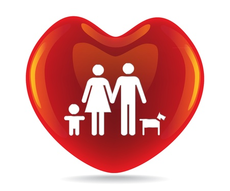 A basic family in big heart symbol Vector