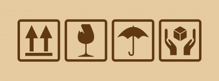 breekbaar symbool op karton - illustratie Vector Illustratie