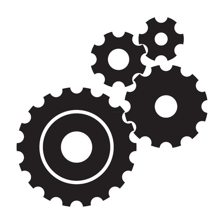 black cogs gears on white background
