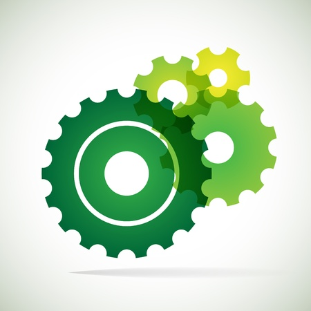 green trnsparent cogs  gears  on white background