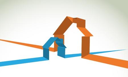 deux symbole de la maison en bandes - illustration