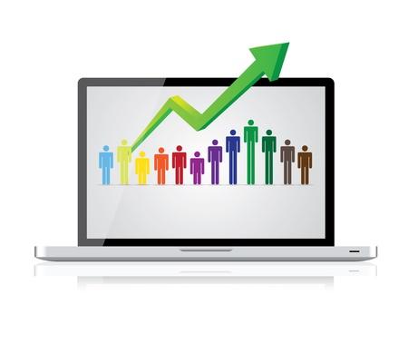 people in row in laptop Stock Vector - 17745120
