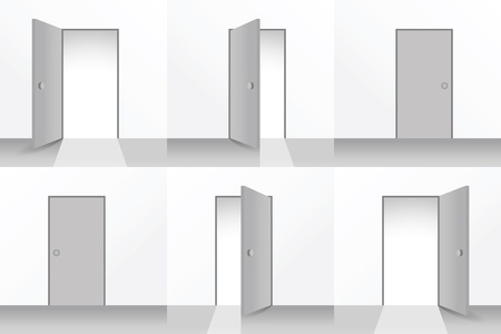 exit door: Set of open and closed doors - illustration Illustration