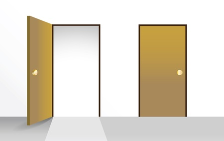 room door: Set of open and closed doors - illustration Illustration